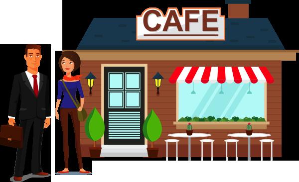 illustration  Business Man outside cafe