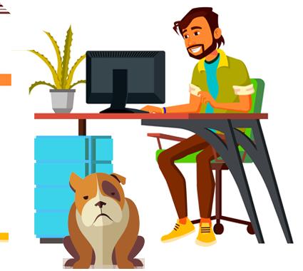 character illustration man working at desk