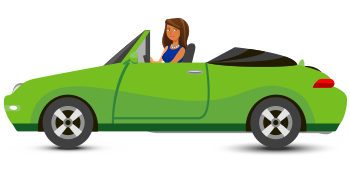 Character -woman driving sports car