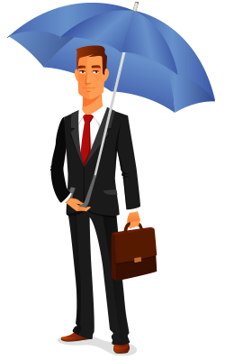 character business man with umbrella