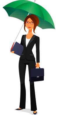 character business woman holding umbrella