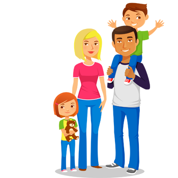 Character Illustration of family with 2 children