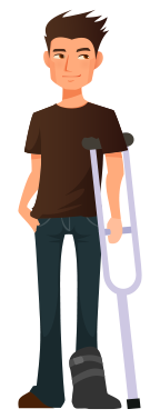character illustration man with crutch