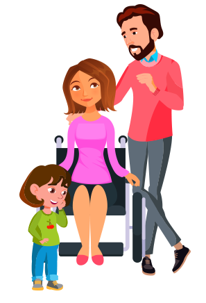 character illustration family mom in wheelchair