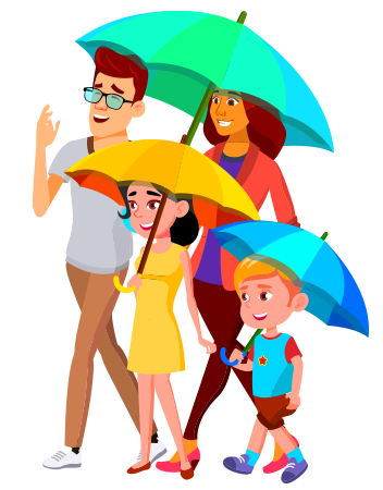 Character Illustration Family with Umbrellas