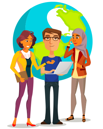 Character Illustration International Business Communications